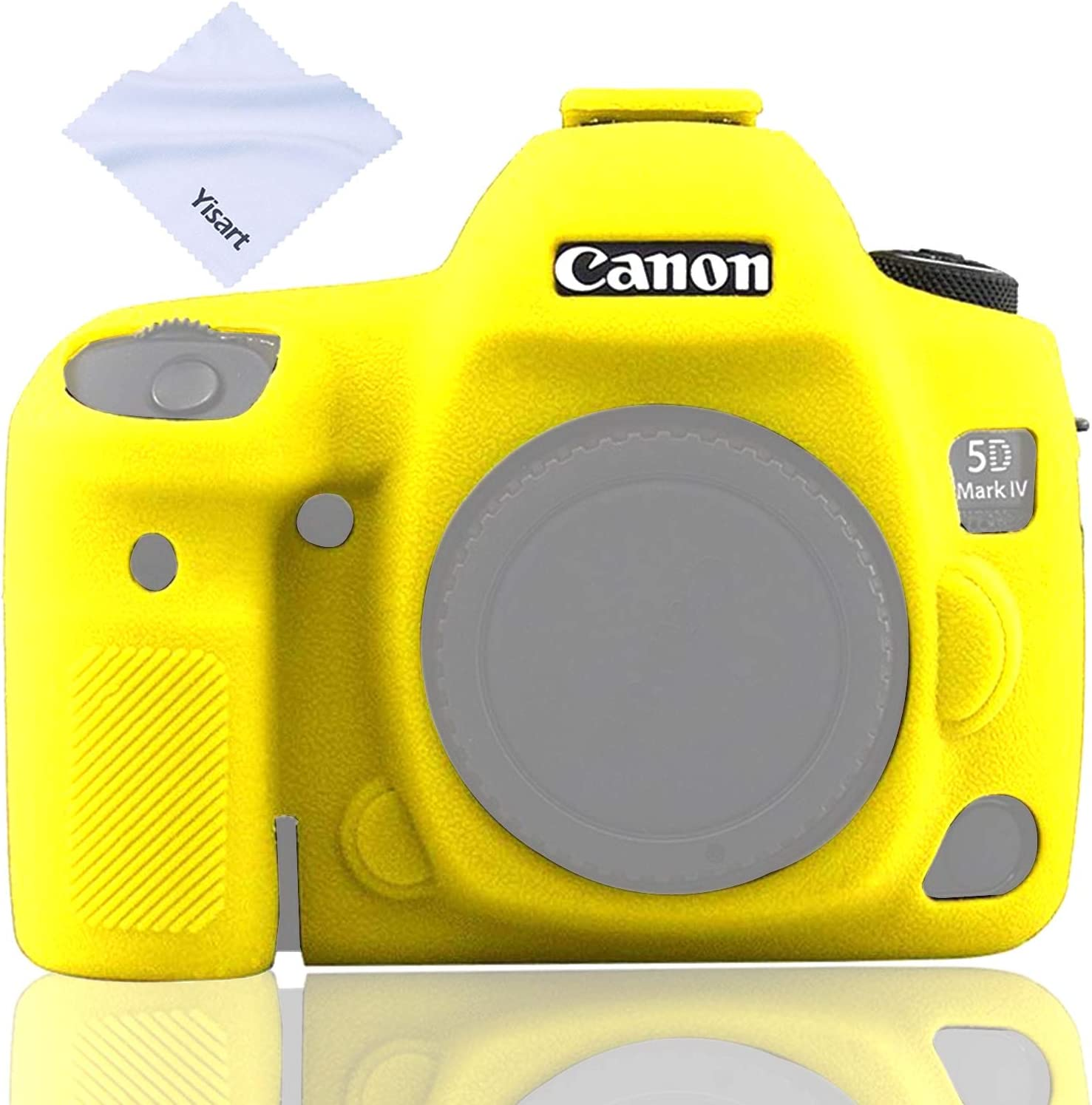 【Latest Style】 Yisau Canon 5D Mark IV Camera Case, Professional Camera Silicone Case Removable, Surface Texture, Suitable for Canon 5D Mark IV 5D4 Digital Camera + Microfiber Cloth (Yellow)