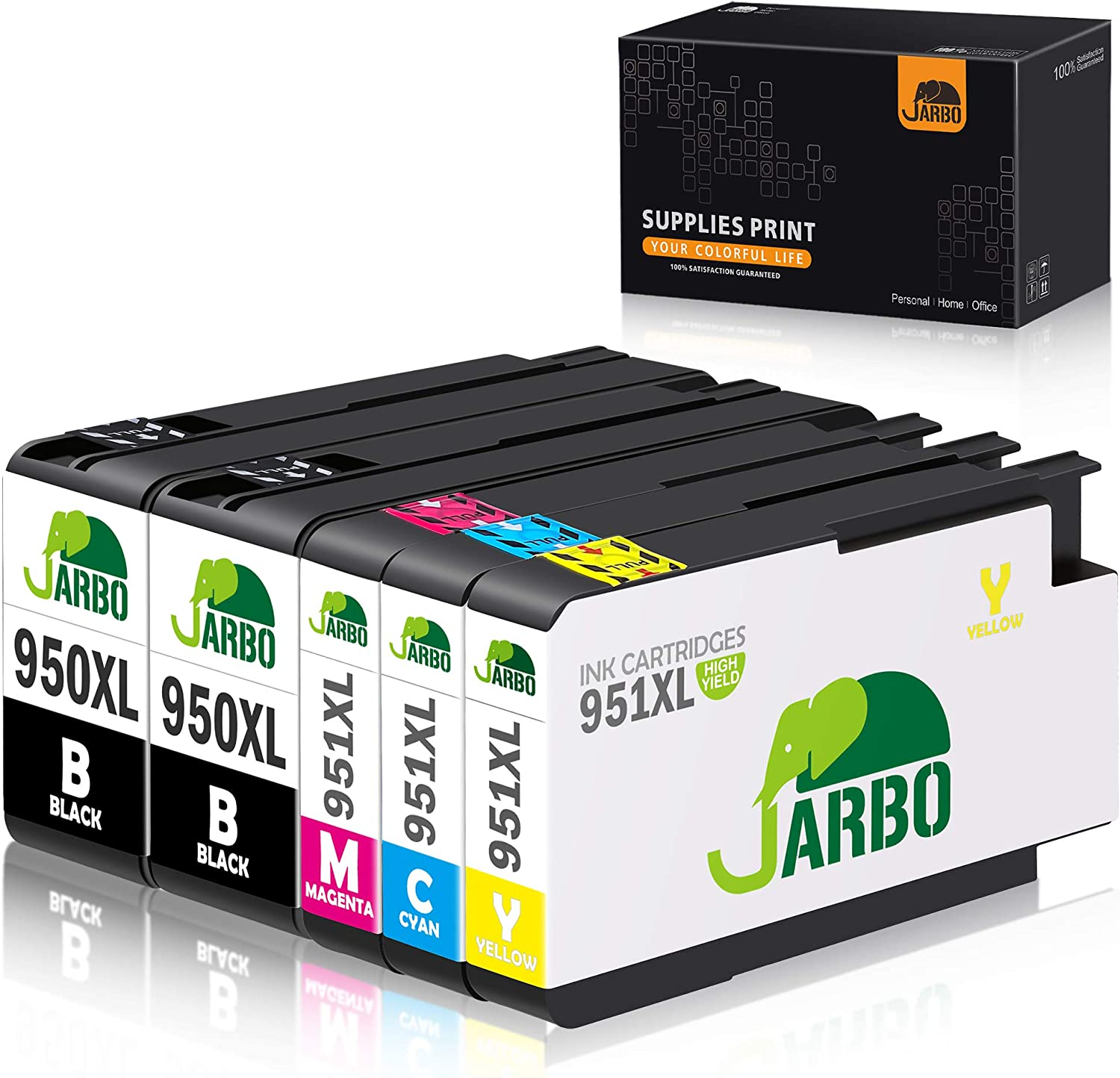 JARBO Compatible Ink Cartridge Replacement for HP 950XL 951XL, 1 Set+1 Black, Compatible with HP Officejet PRO 8600 8610 8620 8630 8100 8640 8660 8615 8625 251dw 271dw 276DW Printer