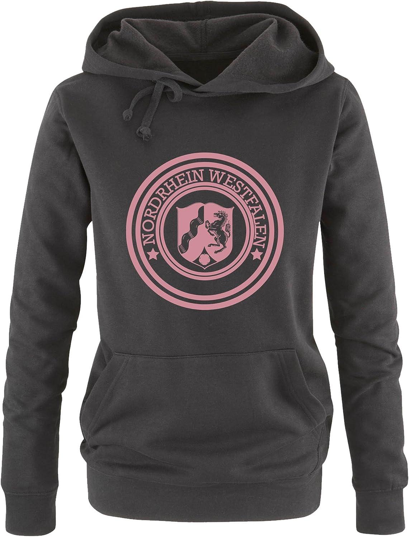 Comedy Shirts Stadtwappen Nordrhein Westfalen Kapuze K/ängurutasche Damen Hoodie Print-Pulli Langarm