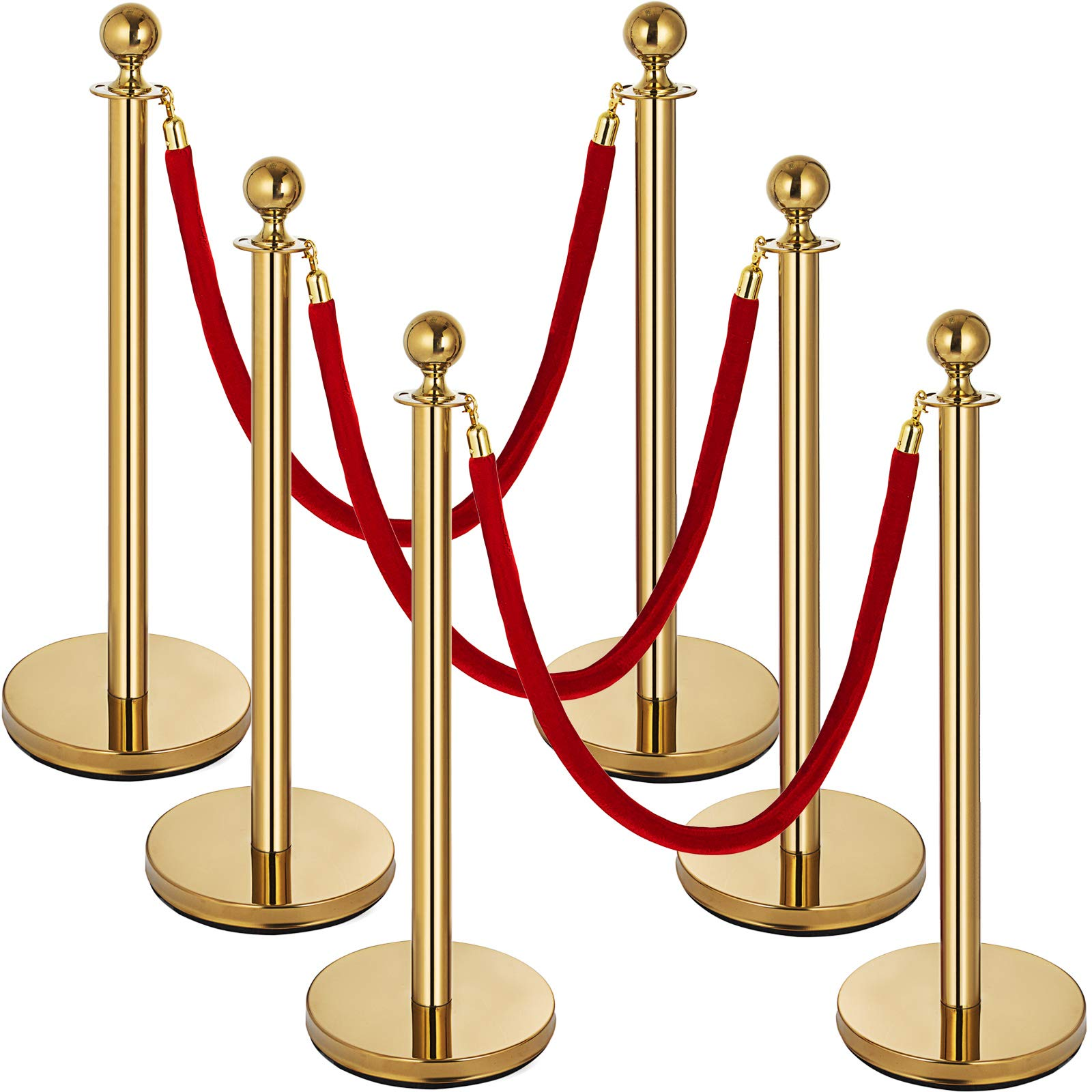 Mophorn 6 PCS Gold Stanchion Post Queue Red Stand Rope Retractable 38In Crowd Control Queue Line Barrier (Gold-Red Rope)