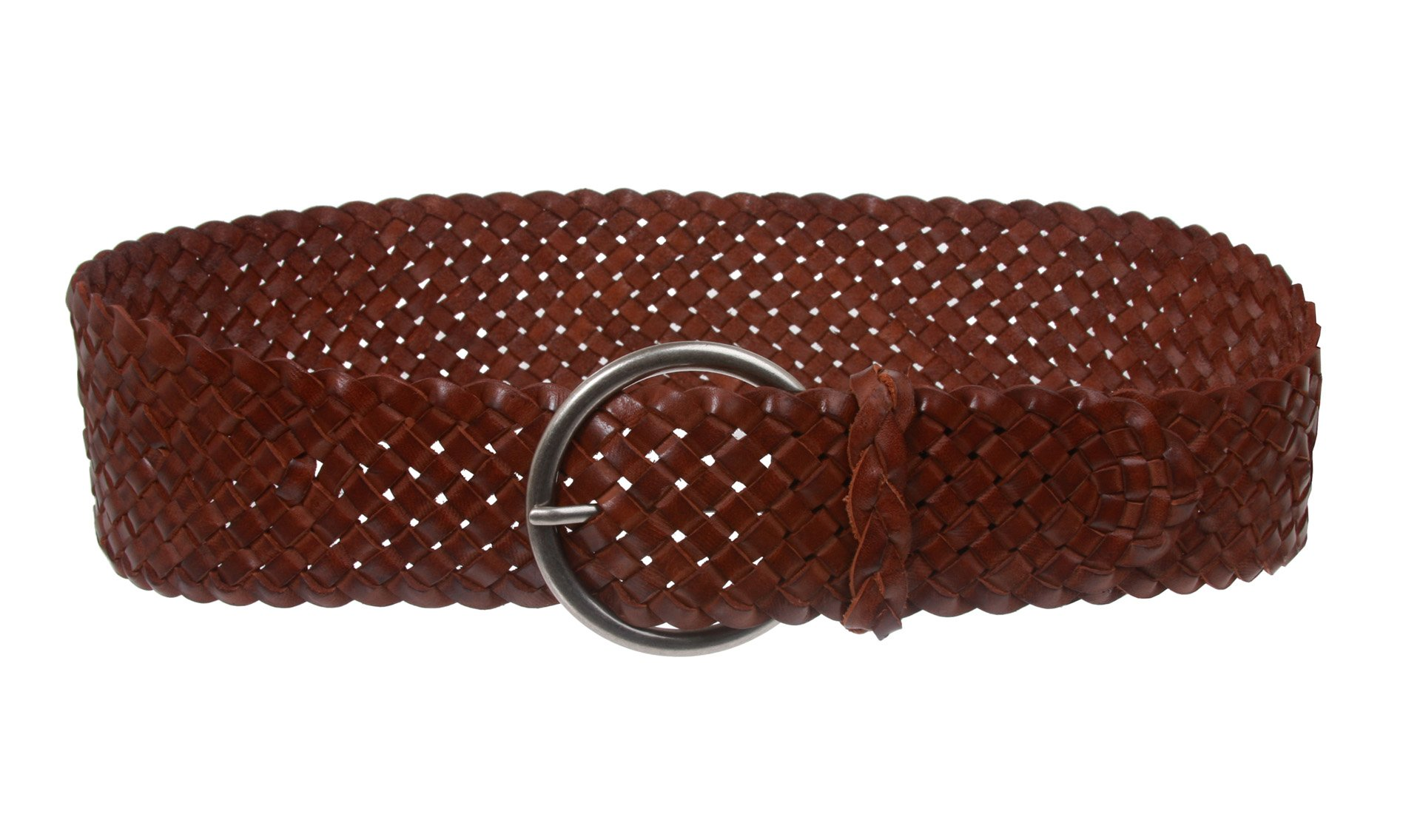 Women's 3 1/4'' Wide Tapered Braided Woven High Waist Leather Belt, Brown | S/M - 32''