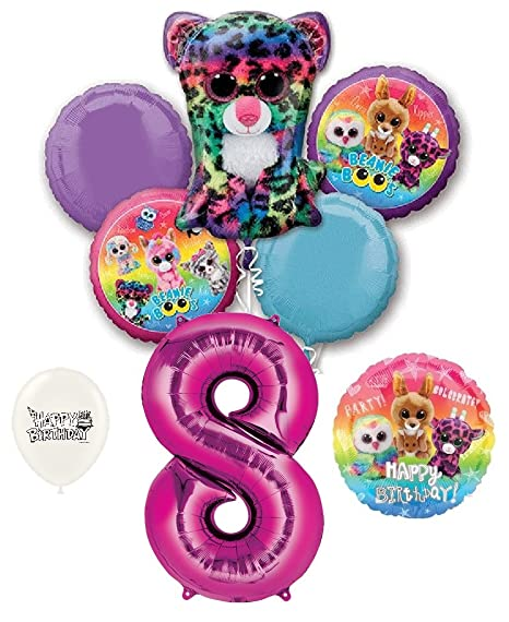Beanie Boos 8th Birthday Party Balloons Bouquet Bundle