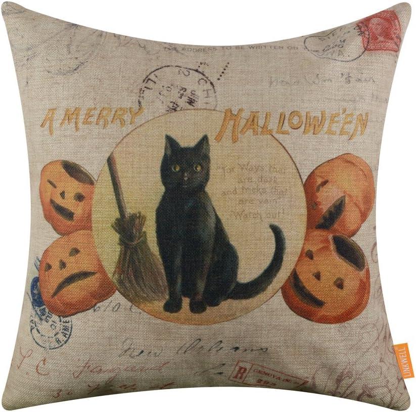 LINKWELL 18x18 inches A Merry Halloween Black Cat and Pumpkin Burlap Throw Cushion Cover Pillowcase CC1375
