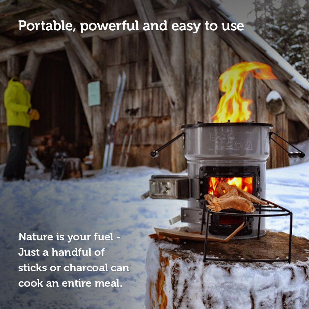 Nature is Your Fuel ... Just a Handful of Sticks or Charcoal Can Cook an Entire Meal