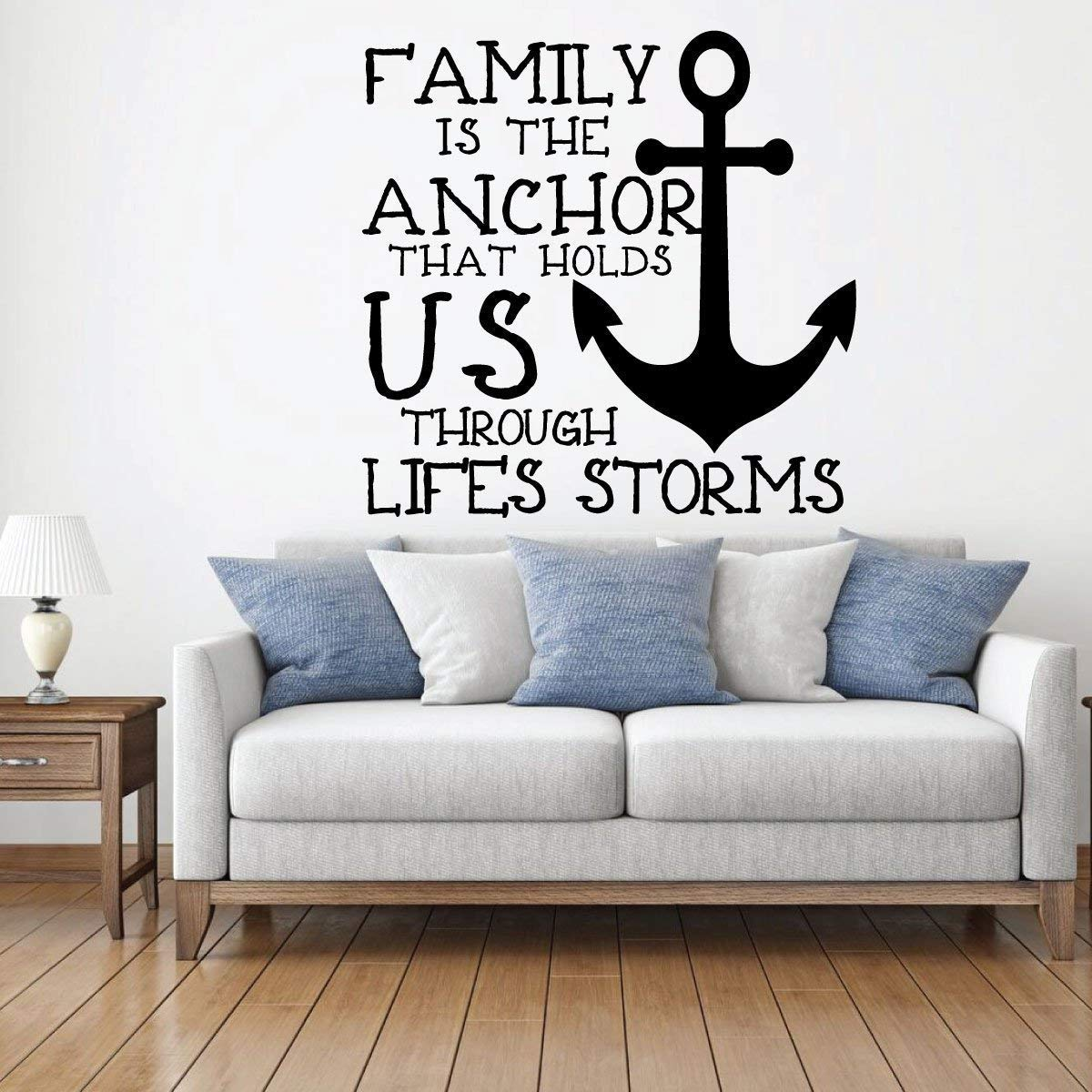 Anchor Wall Decal - Family Is The Anchor That Hold US - Vinyl Home Decoration for Living Room, Home Decor or Playroom
