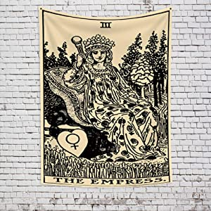 OFila Tarot Tapestry Vintage The Empress Witchcraft Tarot Card Tapestry Mysterious Medieval Europe Divination High Priestess tarot Wall Hanging for Home Bedroom Living Room Dorm Decor 27.6x33.9 Inch