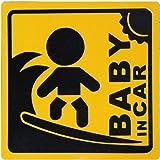 BABY IN CAR 赤ちゃん乗車中 マグネット 外貼り ステッカー12cm 黄色 サーフィン