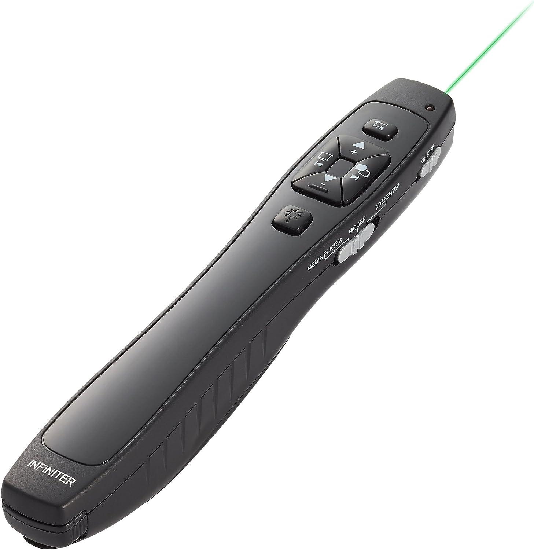 Puntero láser verde inalámbrico INFINITER LR-8G, 4 funciones en 1, para presentaciones, ratón inalámbrico, mando de Media Player (alimentado por 2 pila AAA, ¡incluida!)