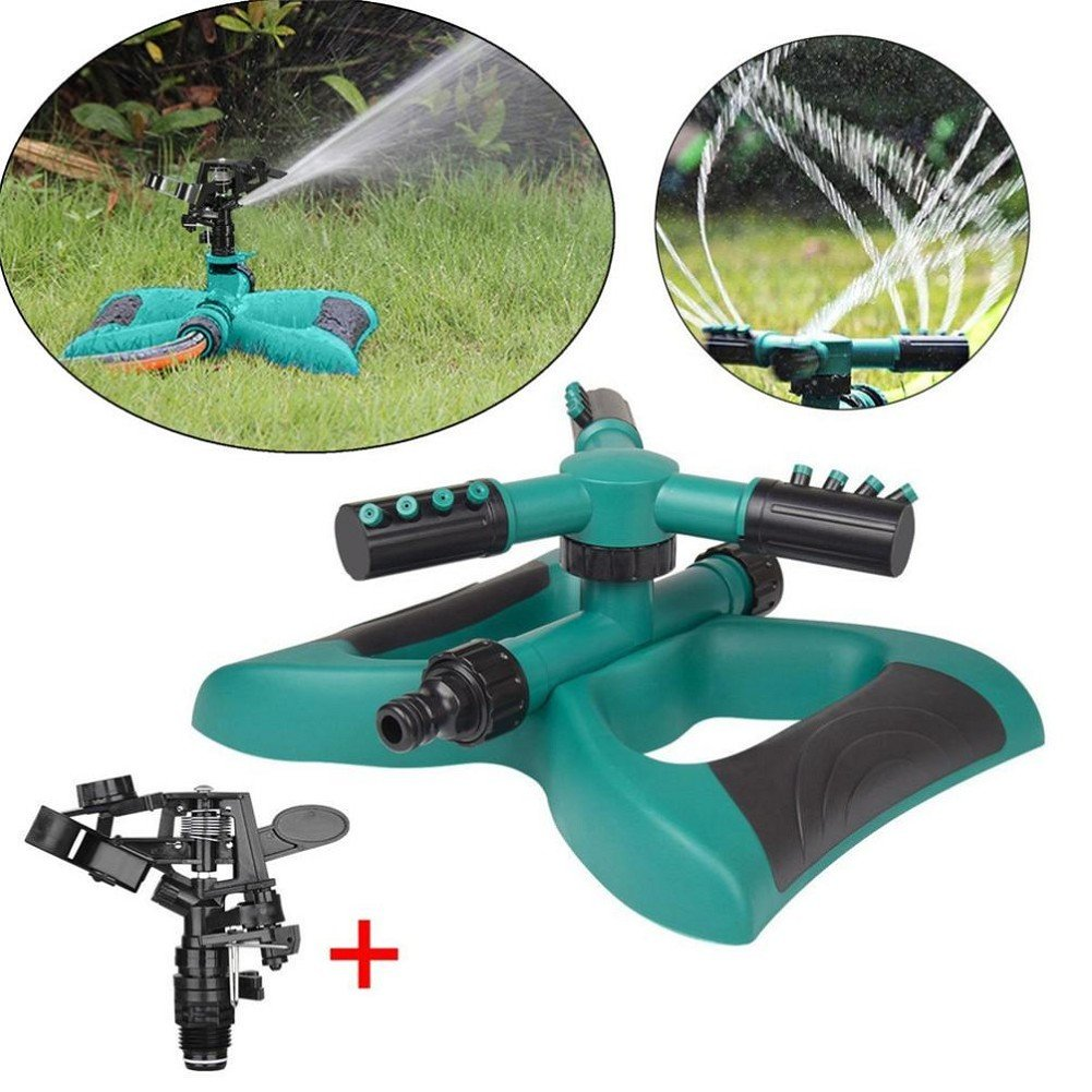 Olulu 360° Lawn Circle Rotating Water Sprinkler 3 Nozzle Garden Hose Irrigation Tool