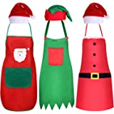 6 Pieces Christmas Apron and Hat Set, Including Christmas Elf Apron and Elf Hat, Santa Claus Apron and Red Christmas…