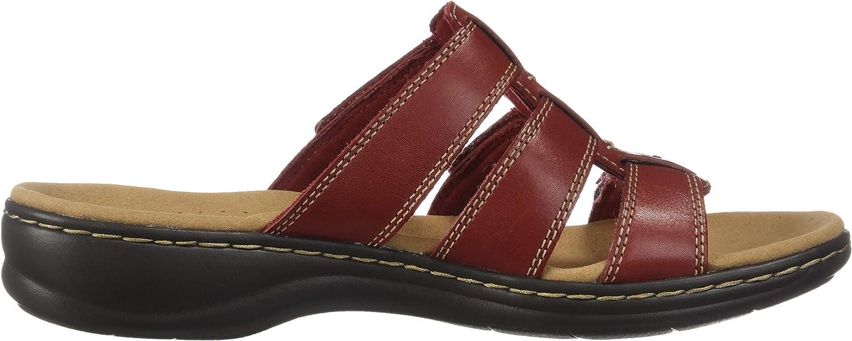 Clarks Femmes Slide Chaussures Cuir Rouge