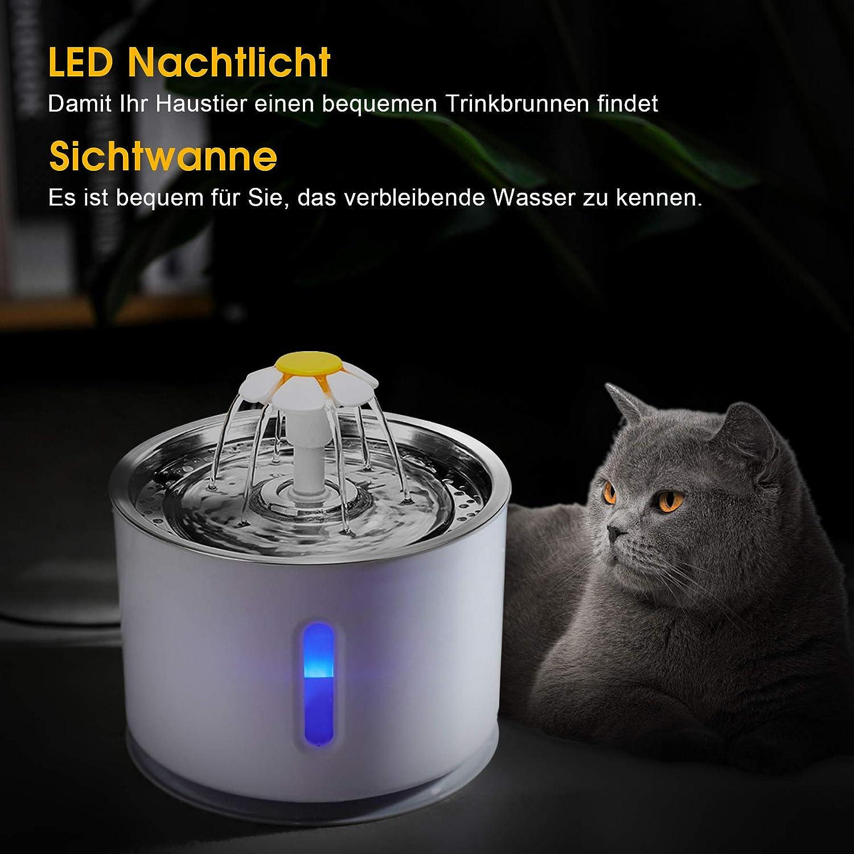 LED luminoso Wilktop dispensador autom/ático para perros ventana de nivel de agua 3 tipos de flujo de agua de pozos gran capacidad 2,4 l Fuente de agua para gatos con filtro de carb/ón activo