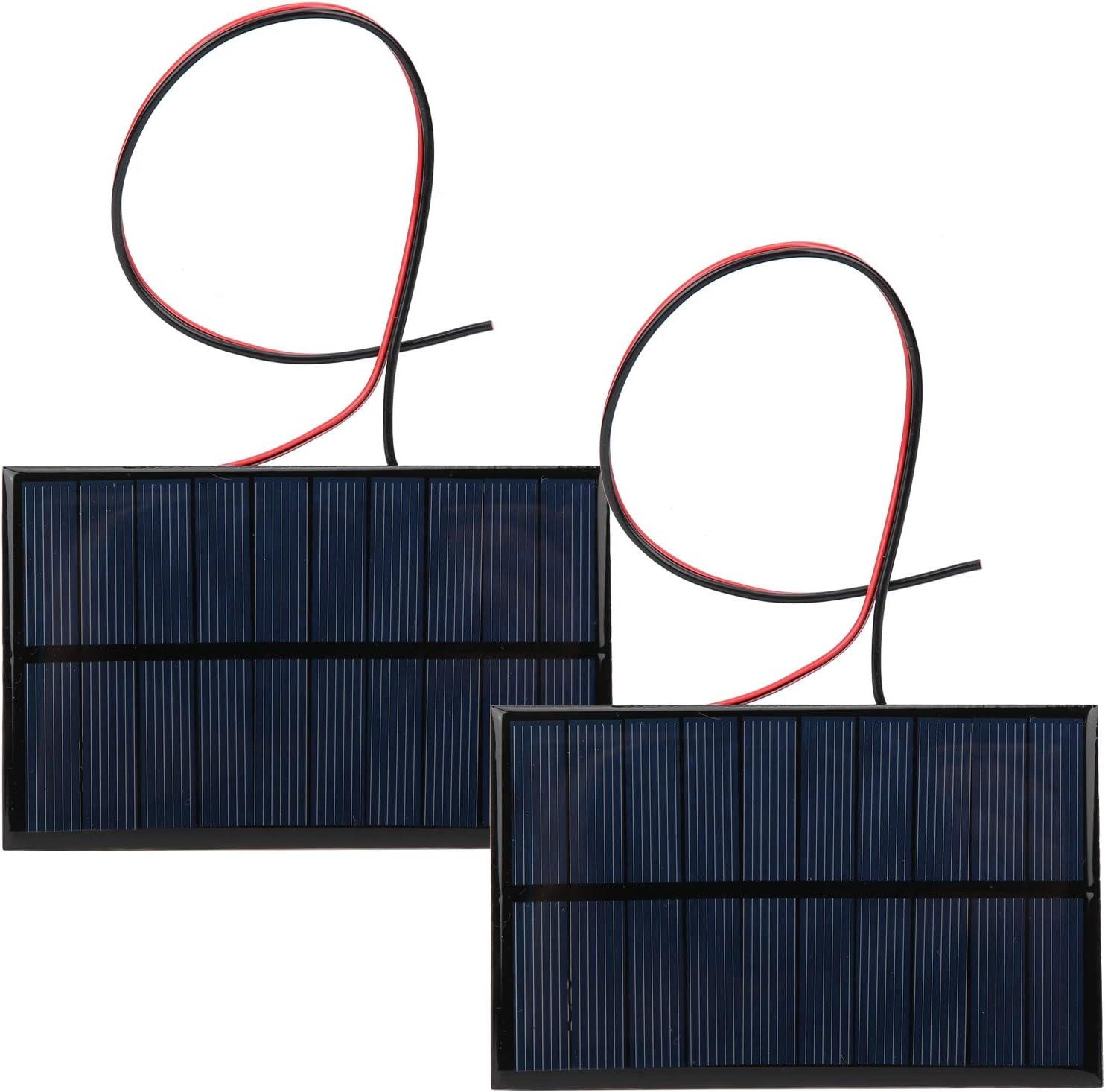 Yctze 2-teiliges Mini-Solarmodul DC 5V 250mA mit 30-cm-Kabel Hohe Umwandlungseffizienz Passend f/ür Solar-Taschenlampen