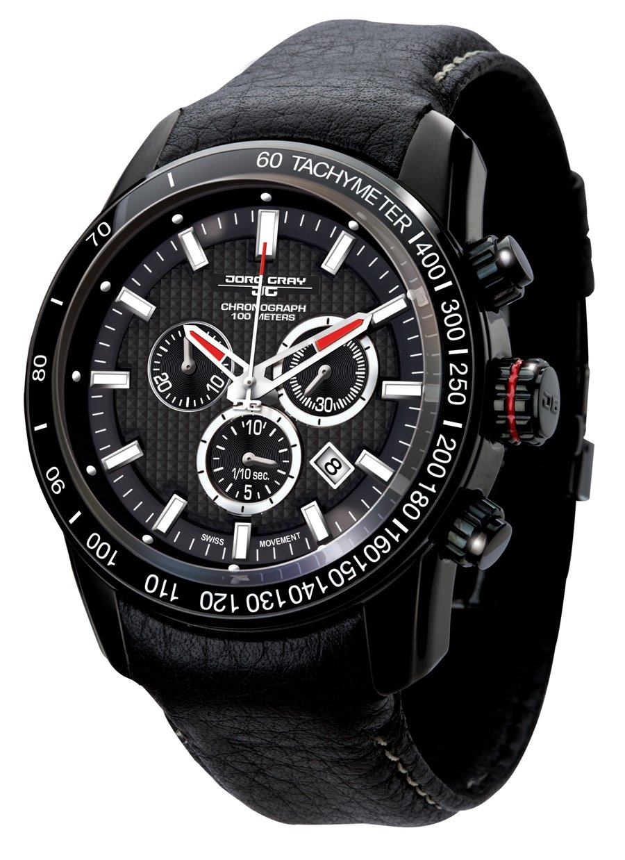 Jorg Gray JG3700-31 Men's Watch Swiss Chronograph Movement Black Integrated Leather Strap Sapphire Crystal