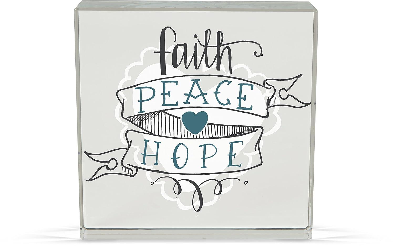 AngelStar 74186 Faith Peace Rachel Anne Glass Plaque 3 x 3