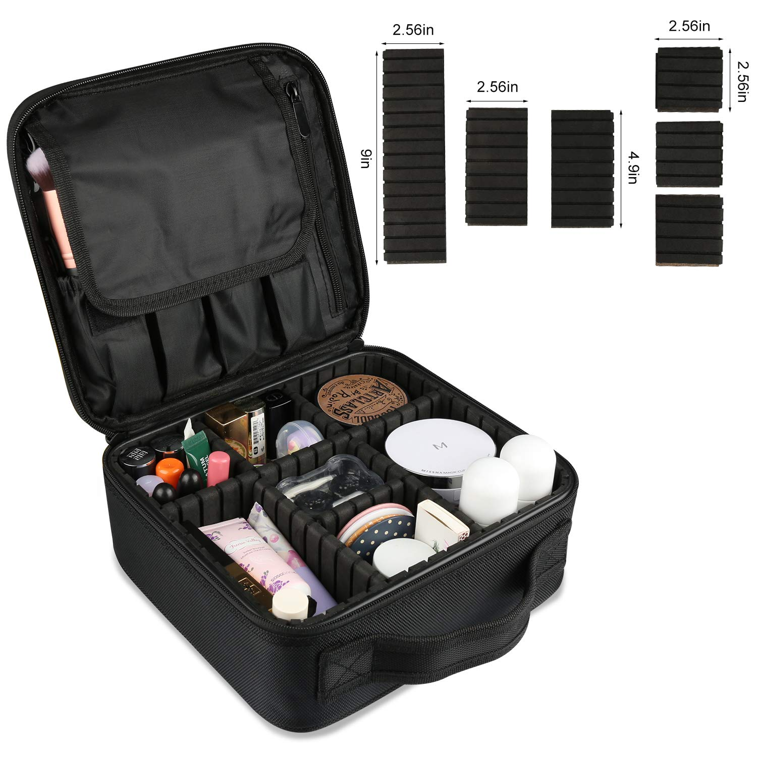 Travel Makeup Bag, Portable Organizer Makeup Bag Cosmetic Train Case with Mirror