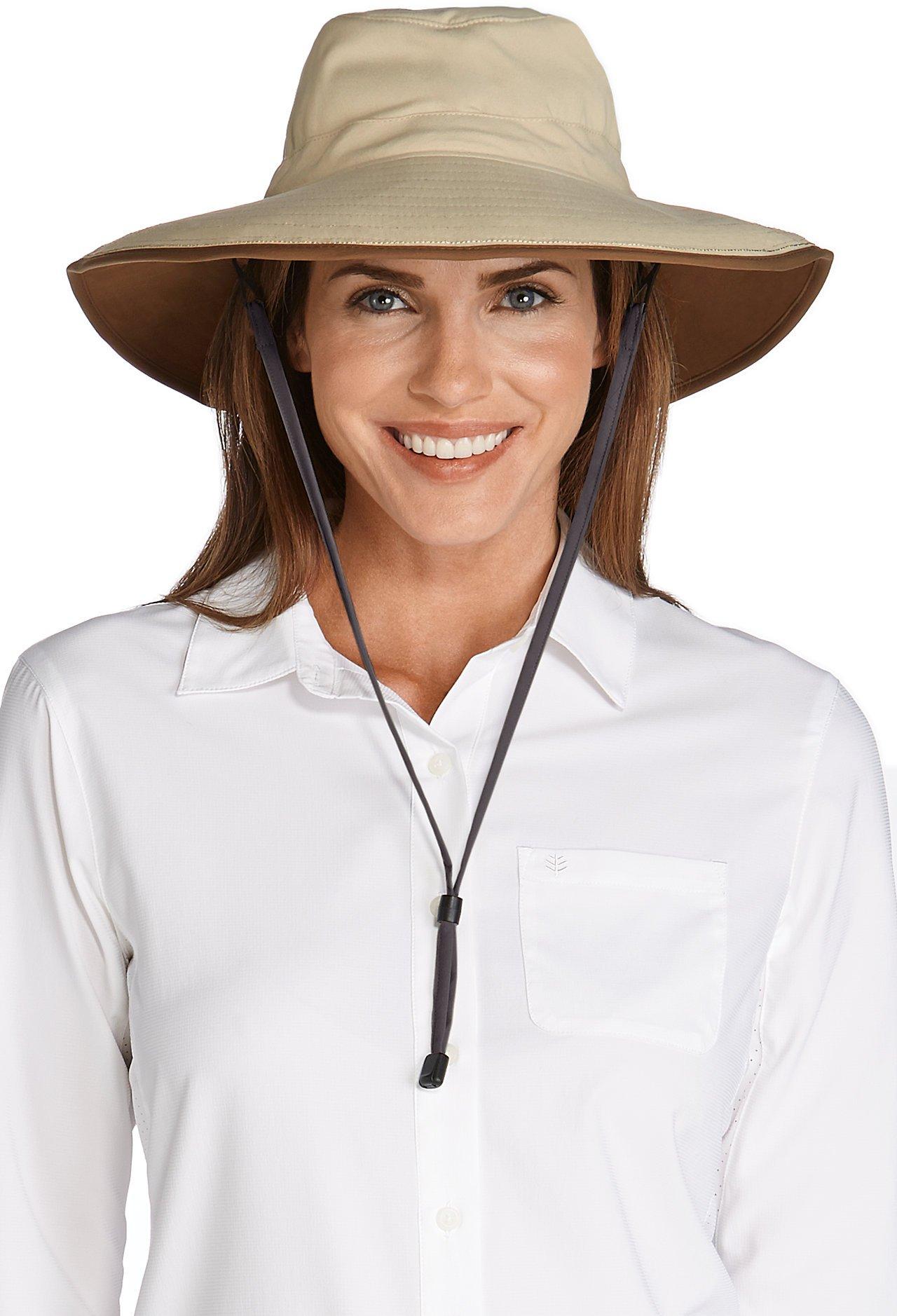 Coolibar UPF 50+ Women's Sun Catcher Shapeable Hat - Sun Protective (One Size- Tan/Khaki)