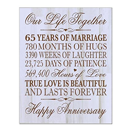 c1f401b1d9dc Personalized 65th Wedding Anniversary Wall Plaque Gifts for Couple Parents