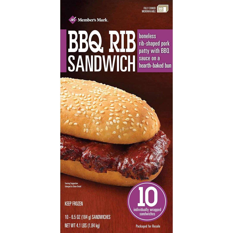 Members Mark BBQ Rib Sandwich (10 ct.): Amazon.com: Grocery & Gourmet Food