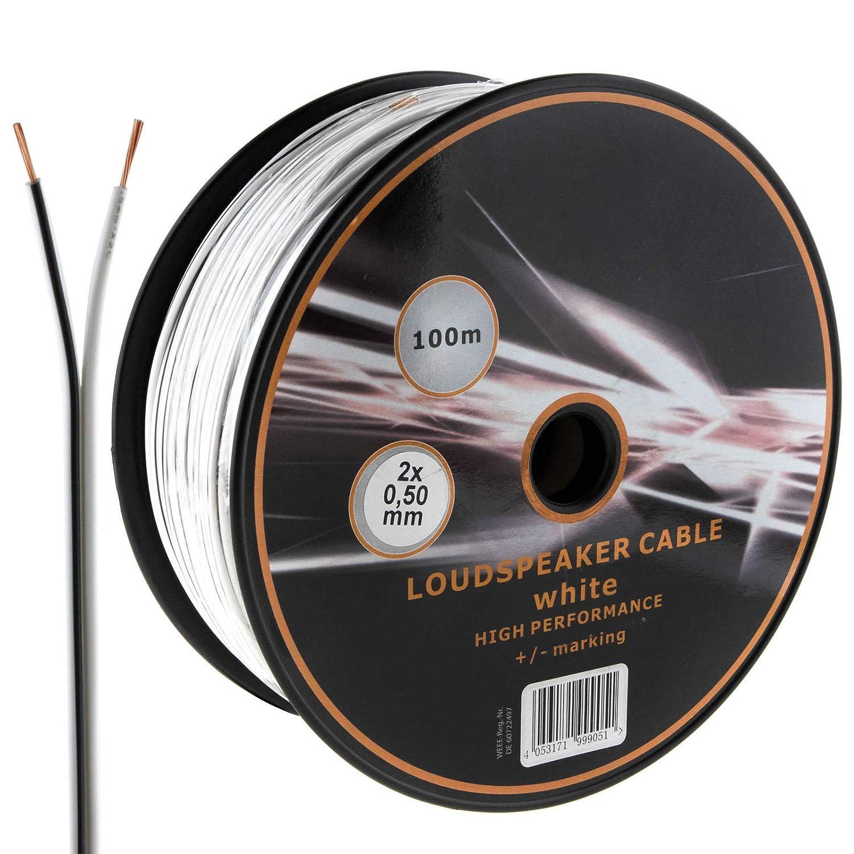 Cable de Altavoz de 2 n/úcleos Ideal para Audio de Coche y hogar HiFi MKGT/® 10 20 50 100 Metros 20 m Blanco 2 x 0,50 mm