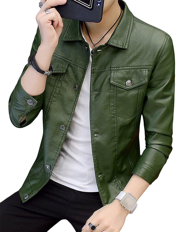 YouzhiWan007 Men's Slim Fit Lapel Button up Moto Biker PU Faux Leather Jackets Cool