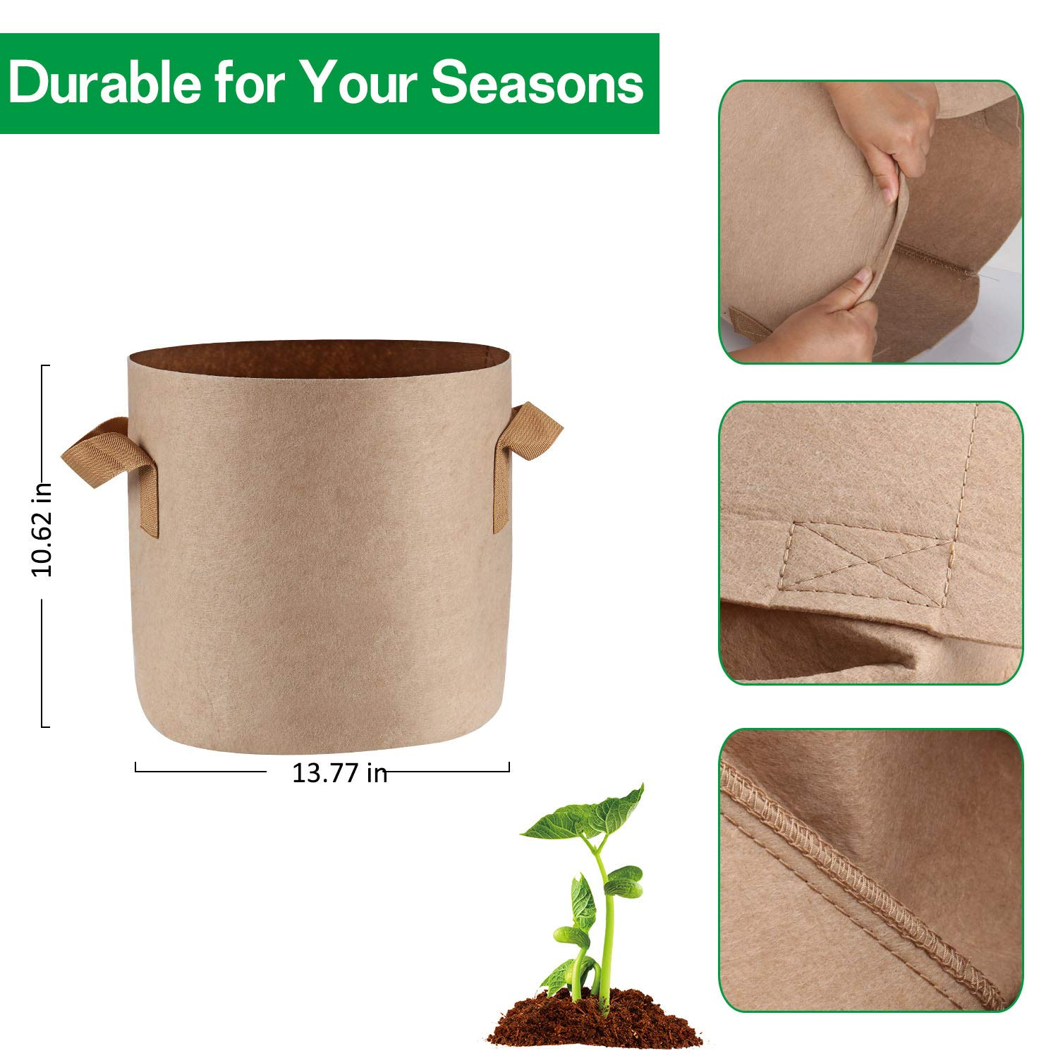 Fabric Planter Pots for Beets Strawberries Cucumbers Anleolife 10-Pack 7 Gallon Potato Grow Bags Tan