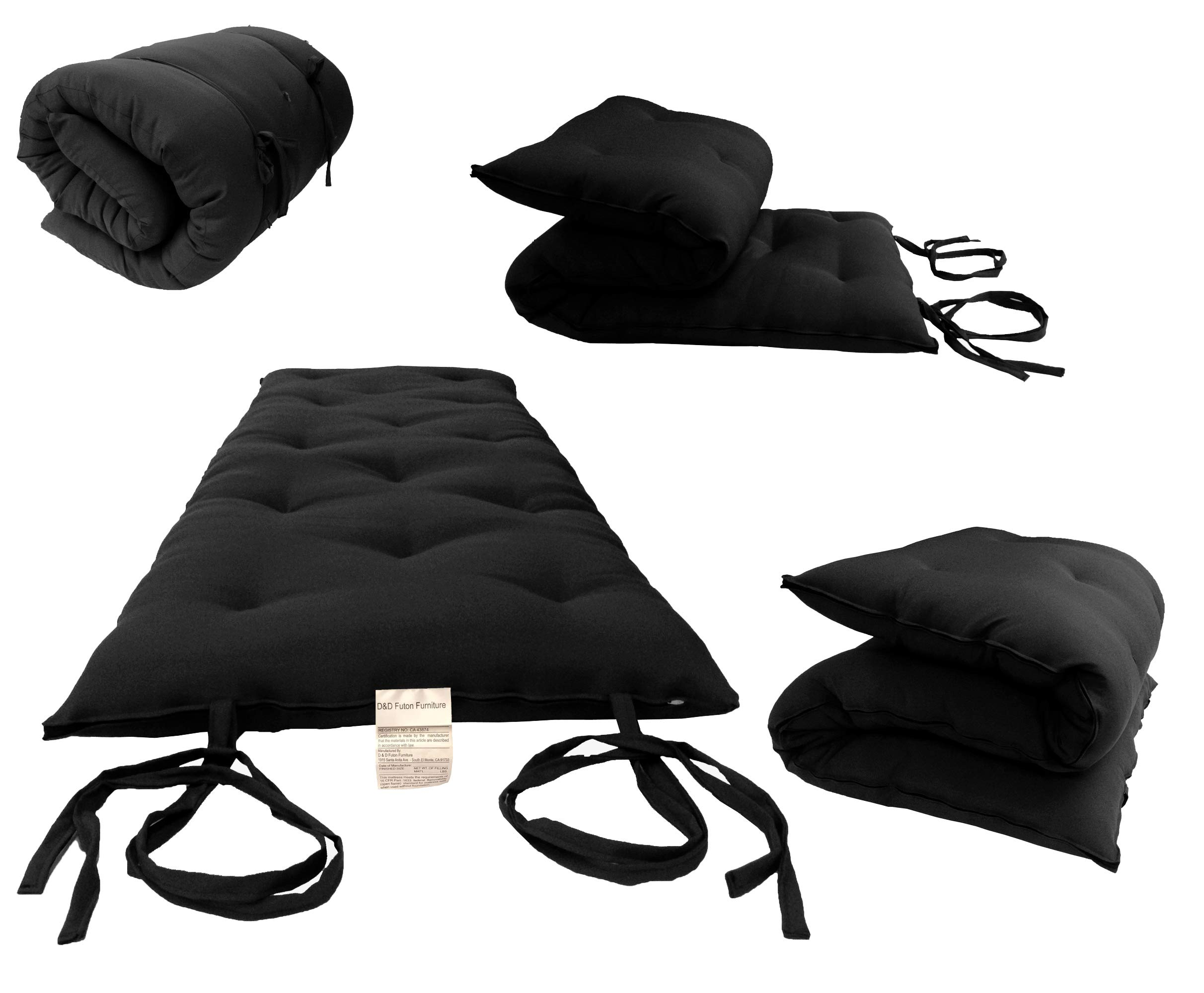 D&D Futon Furniture Full Size Black Traditional Japanese Floor Futon Mattresses, Foldable Cushion Mats, Yoga, Meditaion 54'' Wide X 80'' Long 3'' Thick by D&D Futon Furniture