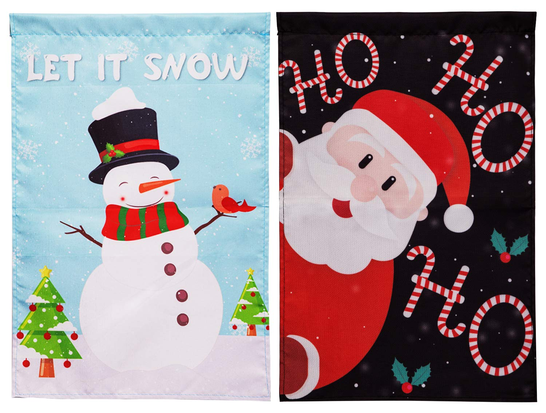 90shine 2PCS Christmas Garden Flag Decorations - Santa Claus Snowman Outdoor Yard Xmas Decors