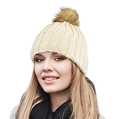 ef3bd4845ada0 Cable Knit Beanie Warm Faux Fuzzy Fur Pom Pom Skull Ski Cap for Men ...