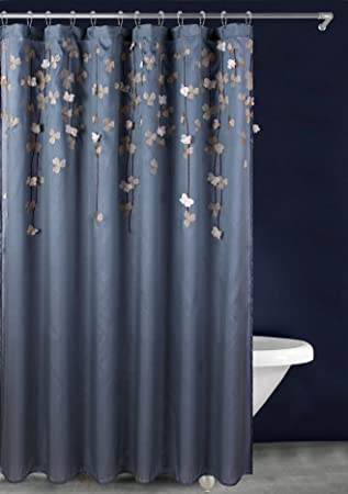 LuxuryDiscounts Flower Drops Embroidery And 3D Floral Applique Fabric Shower Curtain 72quot X