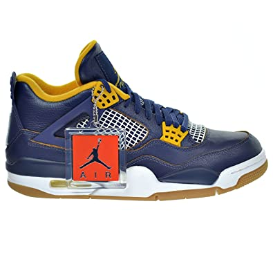 sports shoes ad137 0007a Jordan Retro 4 Dunk From Above Midnight Navy Metallic Gold Gold Leaf White