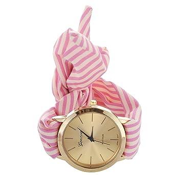 Avec Rose Femmes Bande Geneva D'echarpe Rouge Montre Bracelet Pour Dots De Rayure VjzpqUMSLG