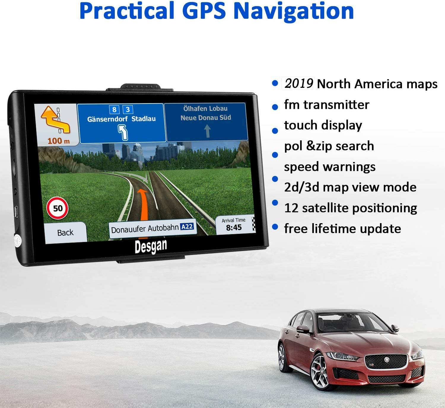GPS Navigation for Car 7 inch 8GB HD Car GPS Navigator Free Update Map Fast Positioning Speed Limit Reminder Driving Alarm Real Voice Sat-Nav