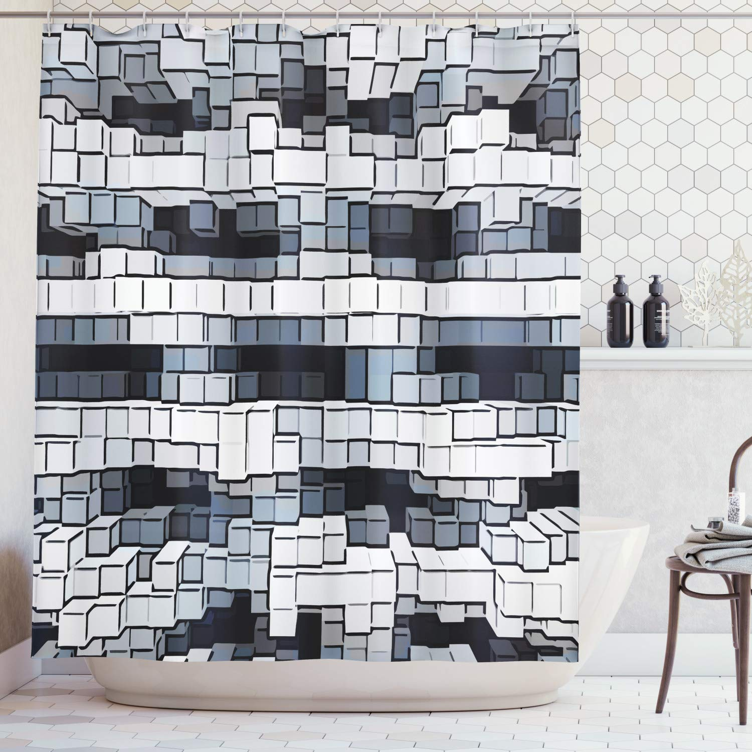 Lunarable Abstract Shower Curtain, Geometric Cubical Structure Optical Illusion Artistic Grid Pattern Artwork, Fabric Bathroom Decor Set with Hooks, 105 Inches Extra Wide, Blue White Black