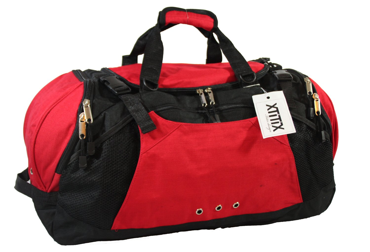 Xtitix Sport Gym Travel Deluxe Rip Stop Stylus Duffel Bag, 25'' L, Red by Xtitix (Image #2)