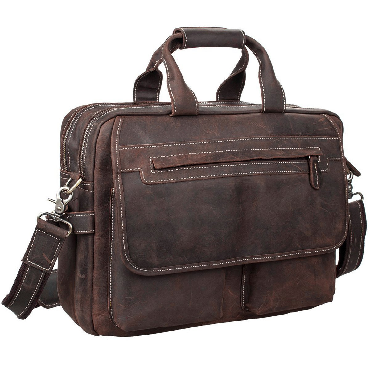 S ZONE Crazy Horse Leather Shoulder Briefcase for 16 Inch Laptop Bag