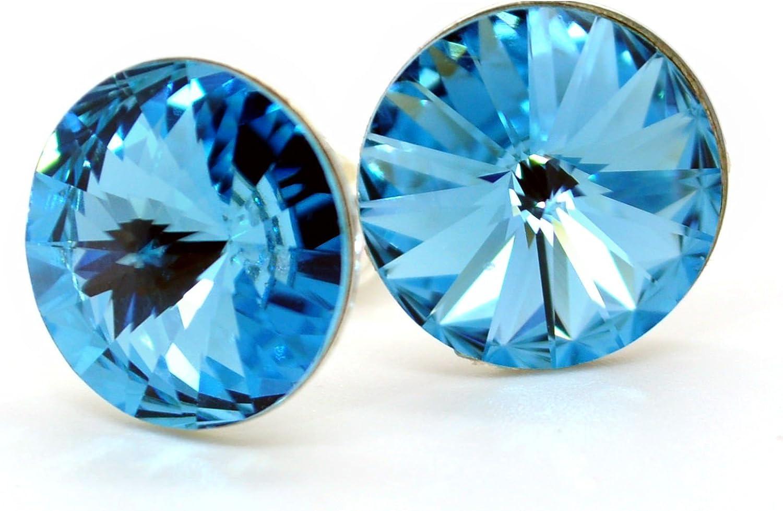 Grandes pendientes de plata de ley 925 con cristales Swarovski de color azul claro y cierre a presión para mujer