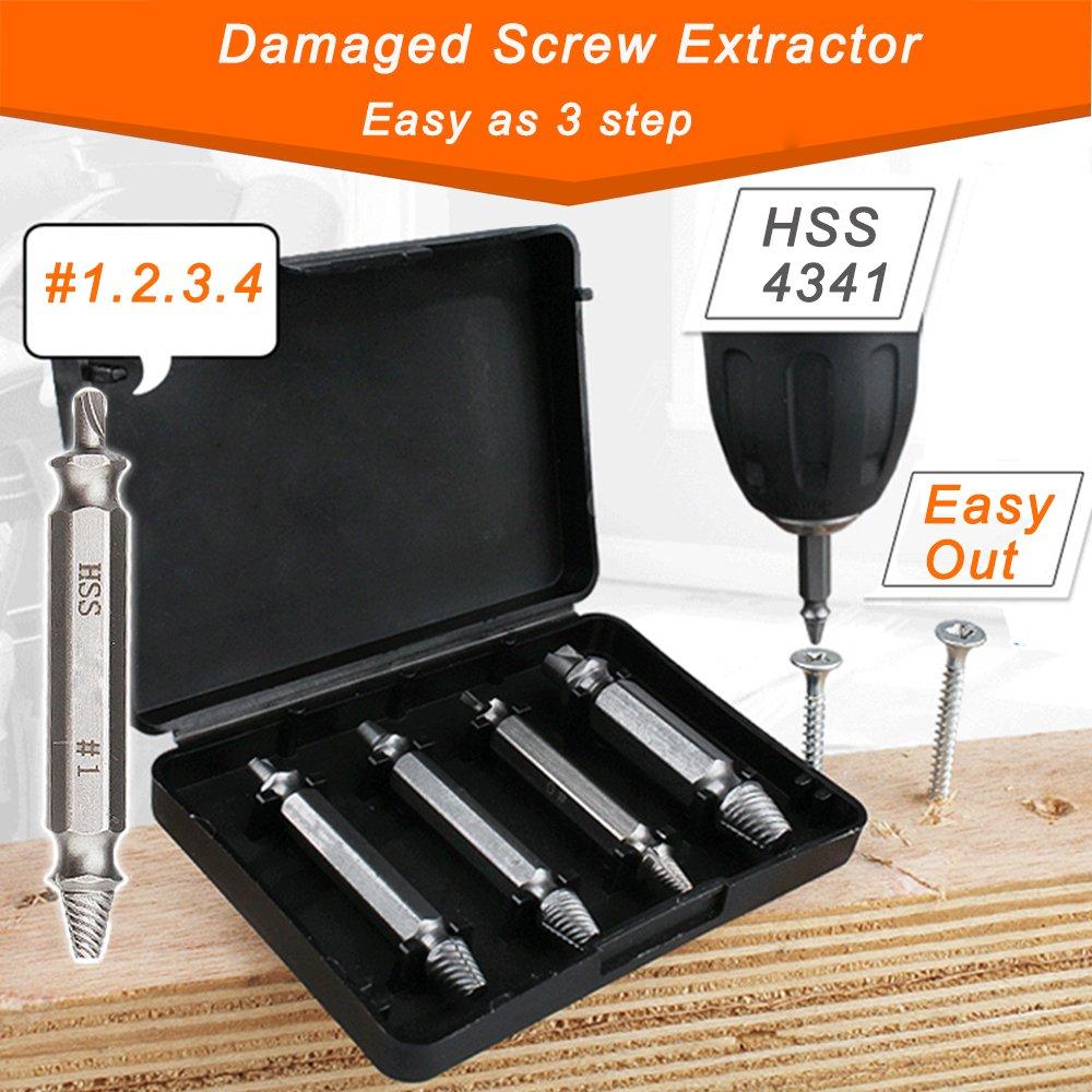 JTENG Coffret de 4pcs Extracteurs de vis endommagé es screw remover H.S.S. 4341#, Temper: 62-63hrc