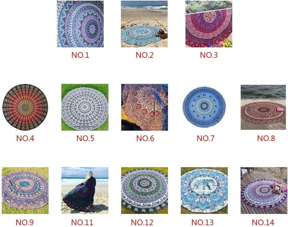 QHGstore Round Pattern Totem Plage Mat Serviette de Yoga Tippet en mousseline de soie Nappe /él/éphant pourpre 150cm