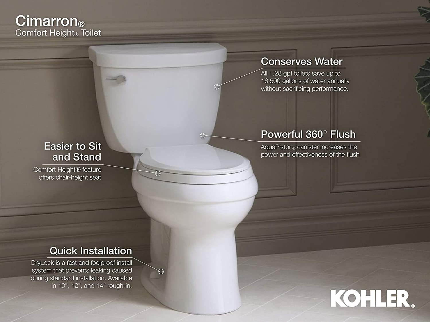 Kohler K 3851 0 Cimarron Comfort Height Two Piece Round Front 1 28 Gpf Toilet With Aqua Piston Flush Technology 10 Inch Rough In And Left Hand Trip Lever White Two Piece Toilets Amazon Com
