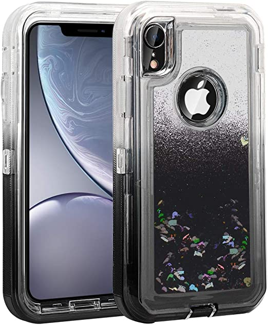 Amazon Com Ballaber For Iphone Xr Glitter Case For Girls Bling Liquid Defender 10r Shell For Women Heavy Duty Shockproof Full Body Protective Hard Pc Bumper Soft Tpu Back Cover 6 1 Inches Black