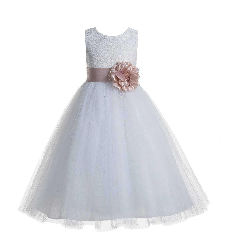 ekidsbridal White Floral Lace Heart Cutout Flower Girl Dresses Christening Dresses 172T