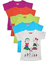 New Day Girls Cotton T-Shirt Pack of Five