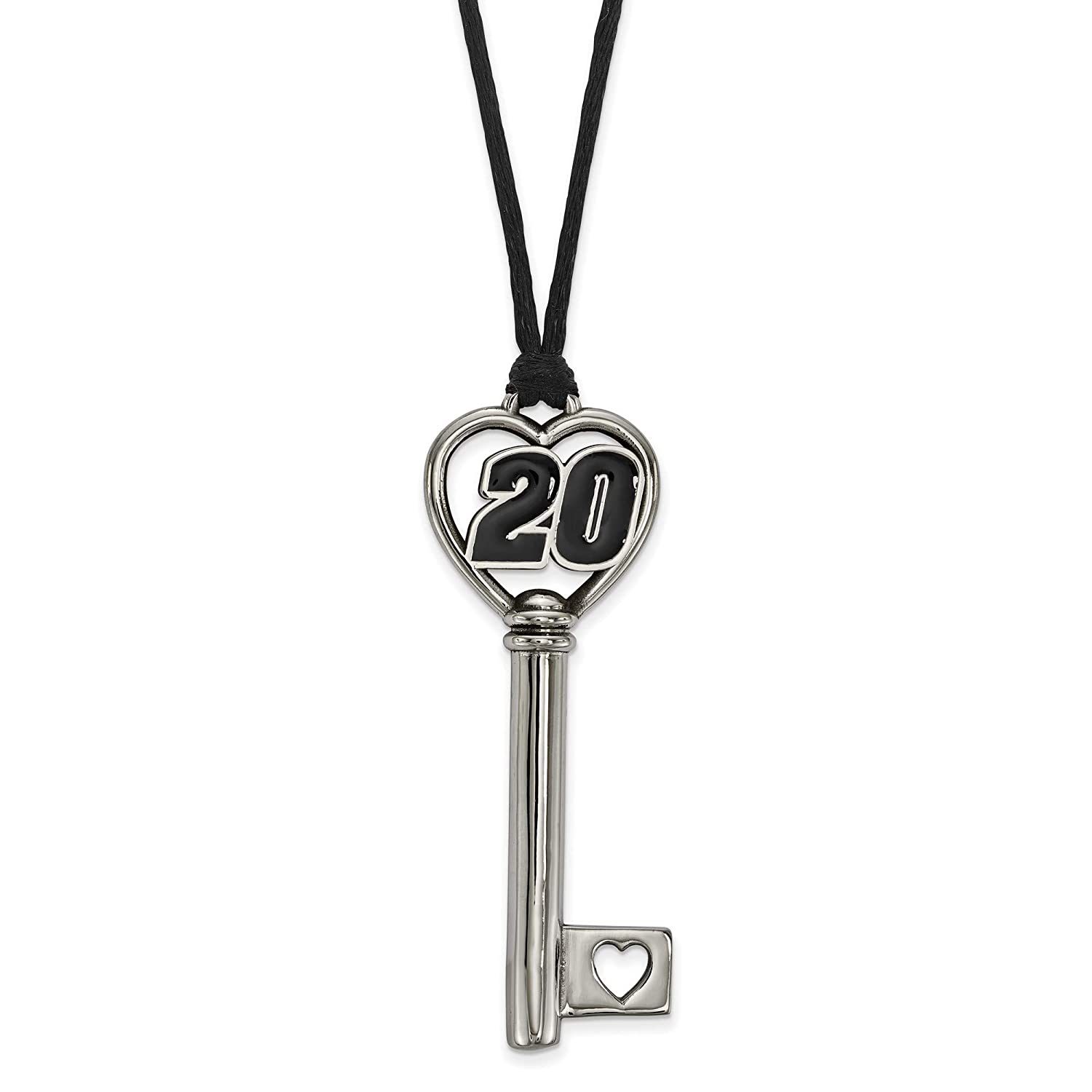 Kira Riley Stainless 20 Heart 2 Key Pendant ON Rope Chain Necklace