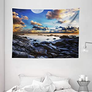Ambesonne Ocean Decor Tapestry, Full Moon Dark Clouds Rocky Coastline Scenic Seascape Morning View Picture, Wall Hanging for Bedroom Living Room Dorm, 80 W X 60 L Inches, Blue Orange and Balck