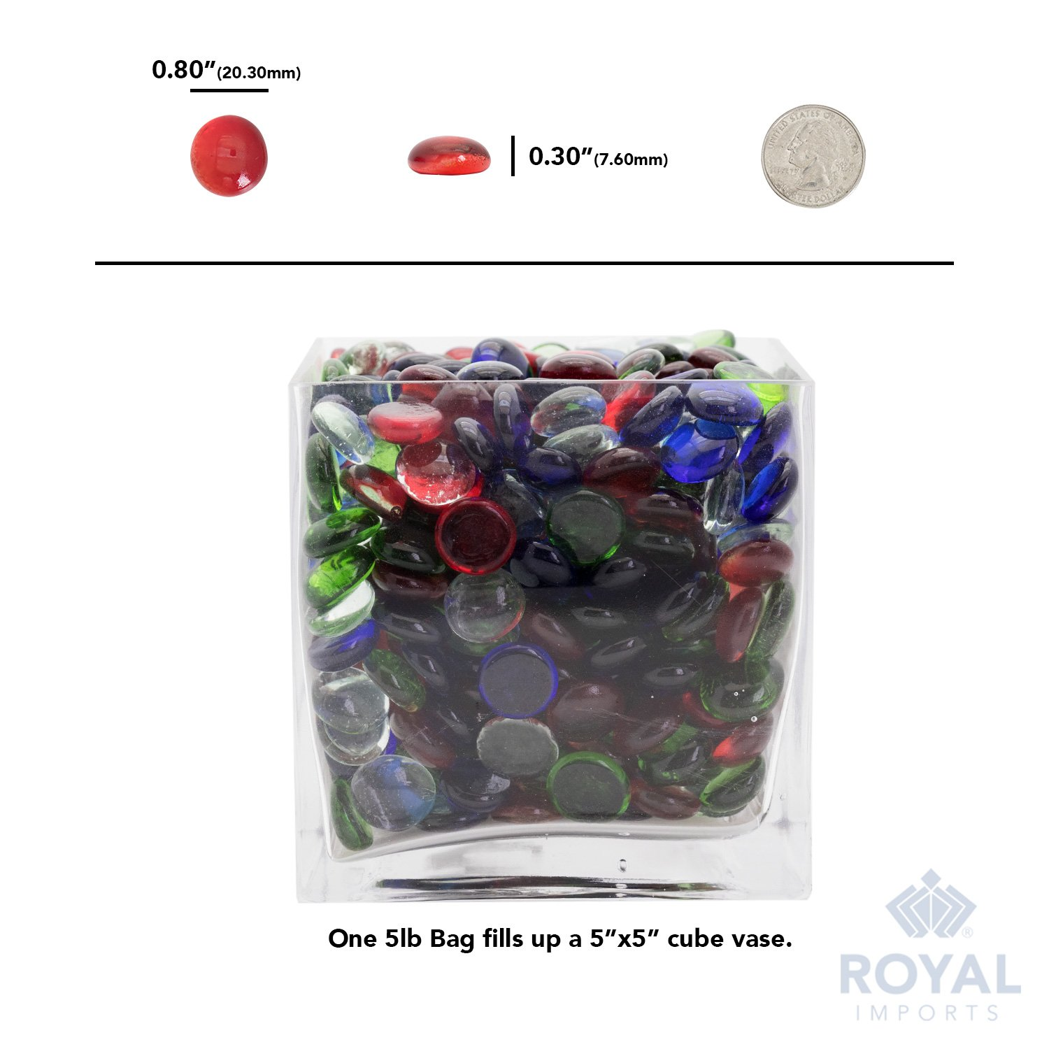 Red Flat Marbles, Pebbles, Glass Gems for Vase Fillers, Party Table Scatter, Wedding, Decoration, Aquarium Decor, Crystal Rocks, or Crafts by Royal Imports, 5 LBS (Approx 400 pcs) by Royal Imports (Image #6)