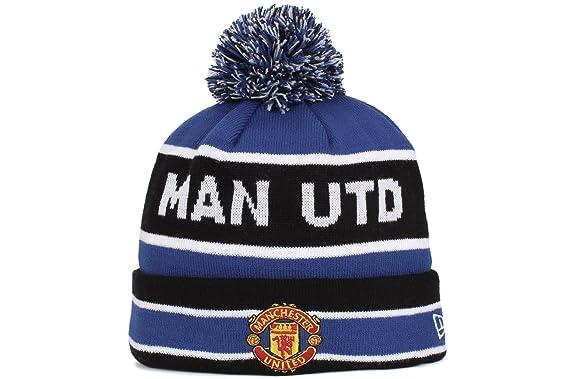 dc40aaae4d7 Manchester United Cuff Bobble Football Beanie - Black Royal Blue - Size One  Size  New Era  Amazon.co.uk  Clothing