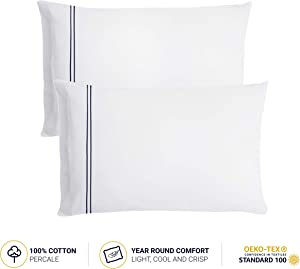 LATEMORNINGS Luxury Queen Cotton Percale Pillowcases Set of 2 (20x28 inch) - 300 Thread Count - White Body Pillow Cases - Standard Size, Deep Pocket Design, Hotel Grade Pillow Covers