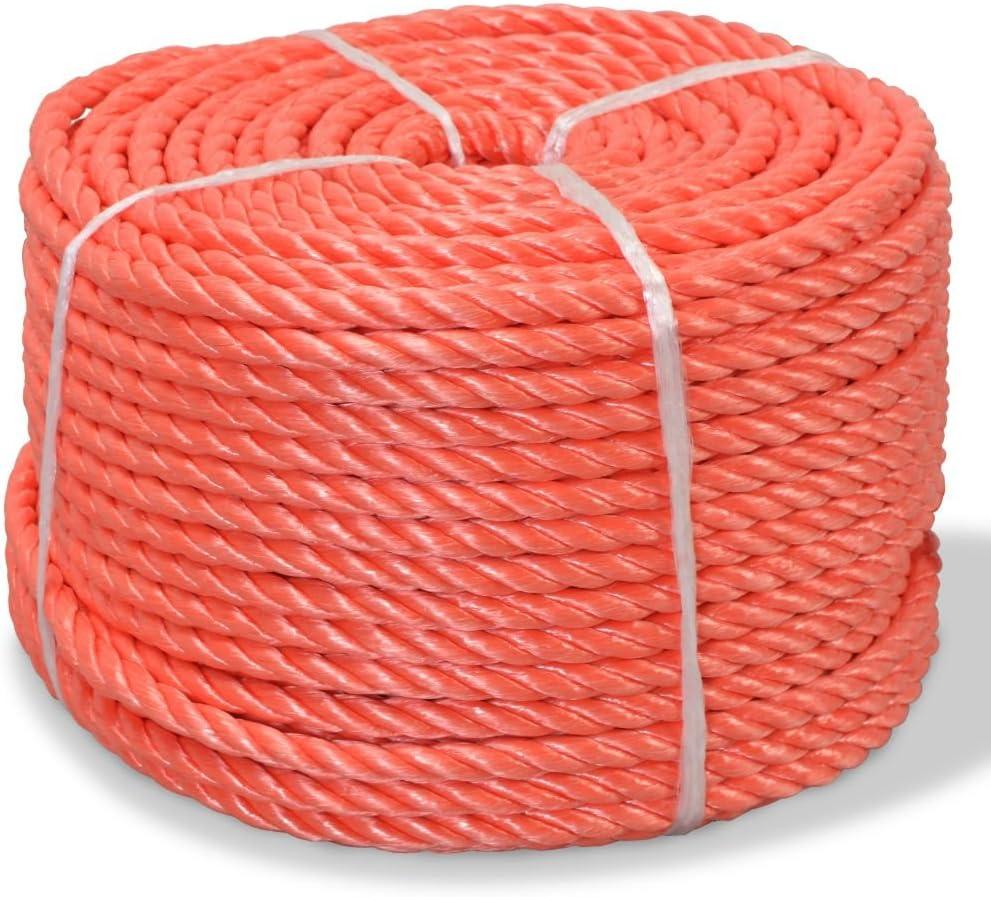 Festnight Polypropylenseil 10 mm 100 m Orange