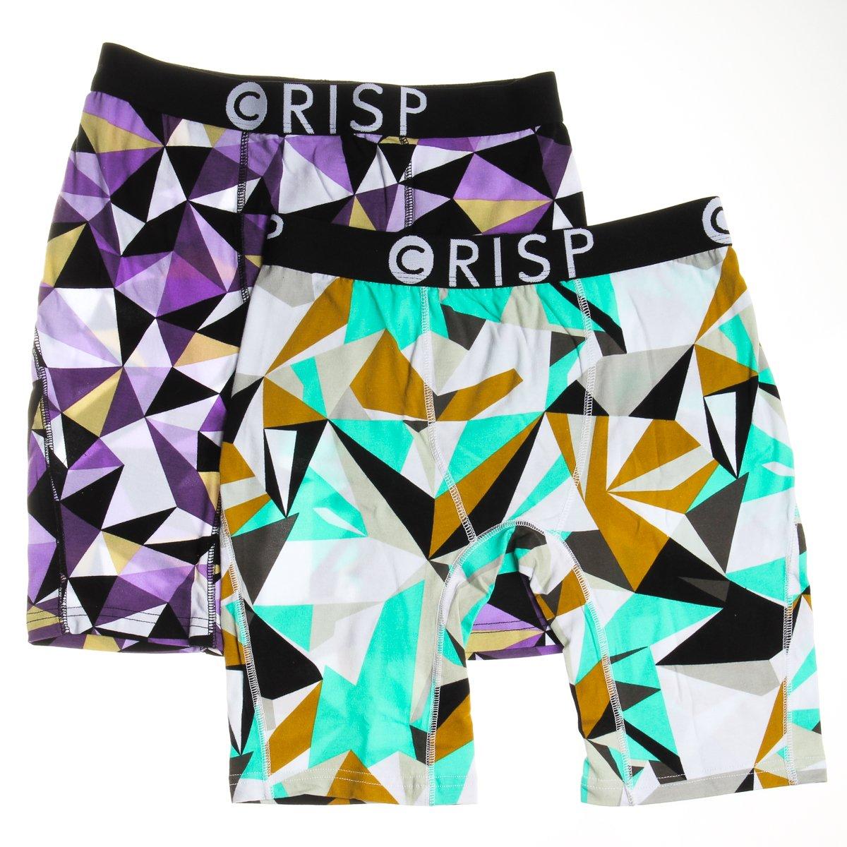 Crisp 2pk Men/'s Authentic Printed XS Boxer Briefs Cotton Breathable Long Athletic